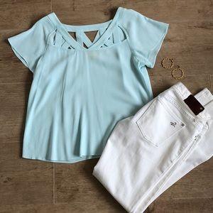 Anthropologie blouse MAEVE size 4 minty aqua
